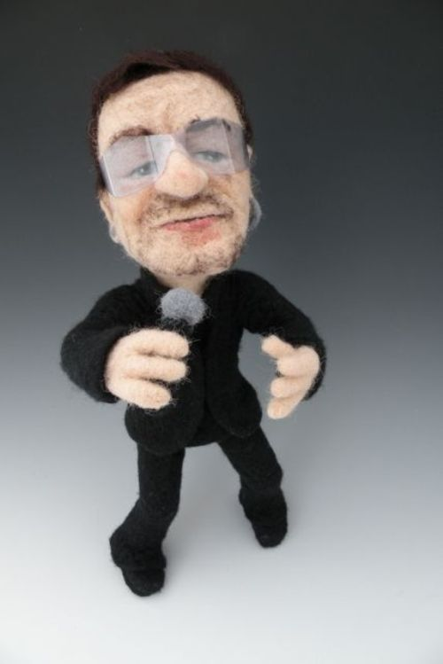 Needle felted celebrities by American artist Kay Petal
