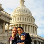 Vujicic with his wife and son in Washington D.C.