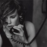 Dramatic black and white image by Peter Lindbergh features talented film actress Nicole Kidman for Vogue Italy