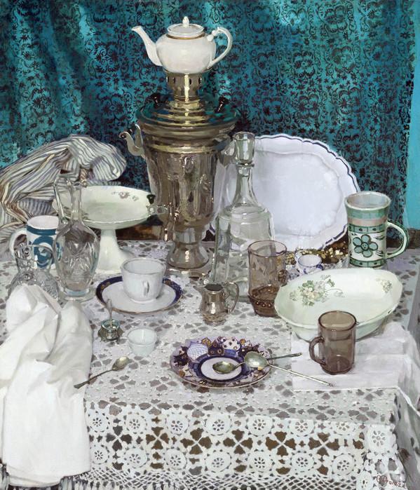 Olga Petrovna Dolgaya (b. 1974). Still life with samovar