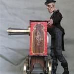 Organ player by a Russian artist Rostislav Mironov. Materials - metal, steel, textiles, epoxylin, fimo