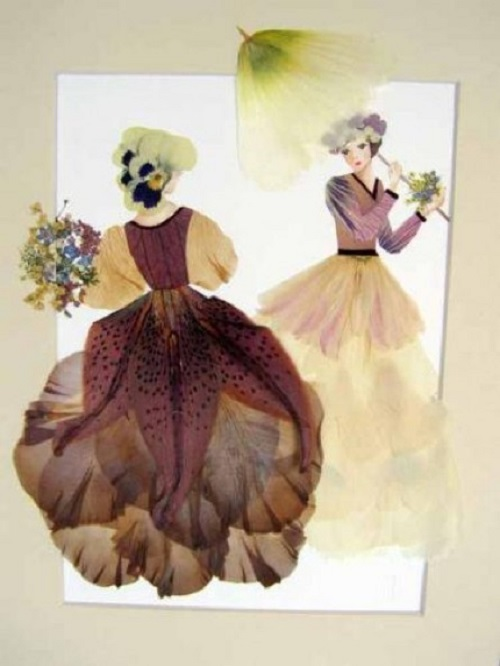Pressed flower craft Oshibana by Ukrainian artist-florist Tatiana Berdnik