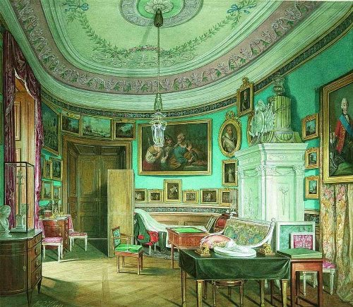 Oval Office of Emperor Paul I. Watercolor on paper. Hermitage. Artist Eduard Hau