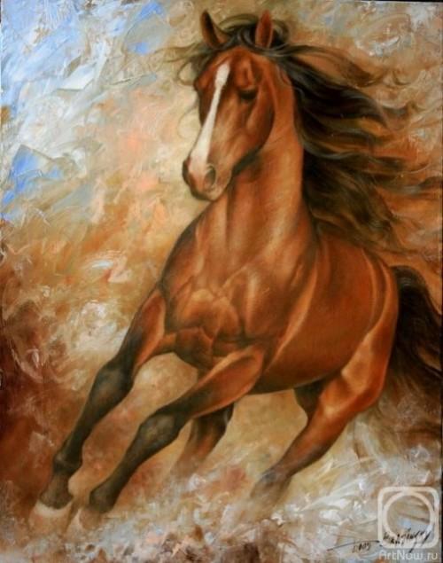 Beautiful horse. Painting by Russian artist Arthur Braginsky