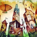 Theater, circus and dirigible balloon over the city. Painting by Russian artist Eugene Ivanov
