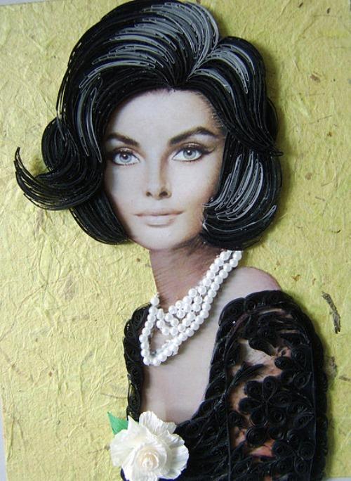 Vintage lady. Paper filigree by Latvian artist Eugene Evseeva