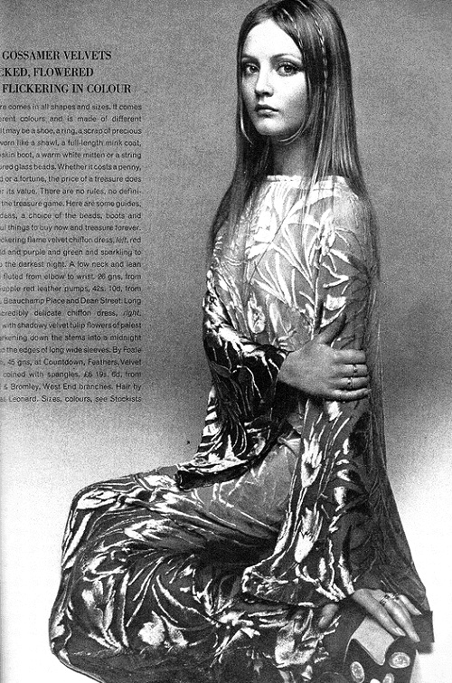 Scanned image of Pattie Harrison in Vintage Vogue