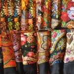 Gorgeous designs of traditional wollen shawls made in Pavlovsky Posad