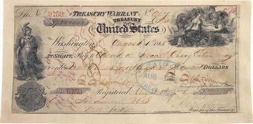 Purchase of Alaska, check Treasury Warrant United States