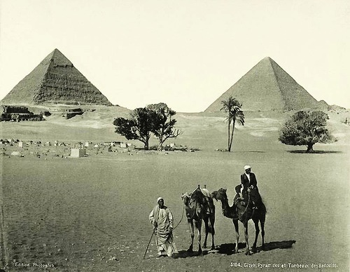 Pyramids of Giza and the tombs of Bedouins. Egypt in retro photographs of 1870