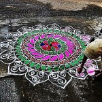 Rangoli design - traditional decorative folk art in India