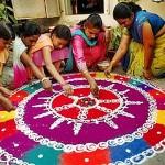 Rangoli made from flower petals