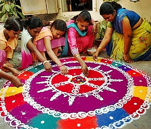 Rangoli made from flower petals