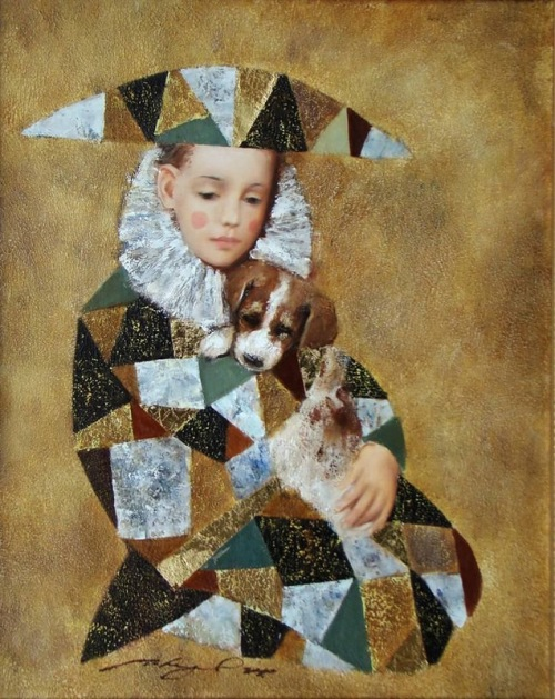 A boy with a puppy