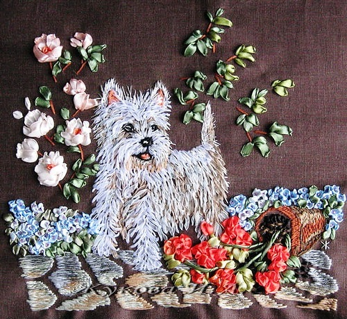 Ribbon embroidery and painting by Belarusian master of arts and crafts Irina Zhukova