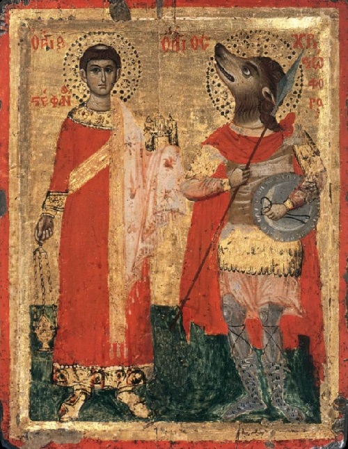 Saint Stephen and Saint Christopher-Cynocephal. XVIII century, an unknown Greek master. Egg tempera on oak, Museum of Icons in Recklinghausen