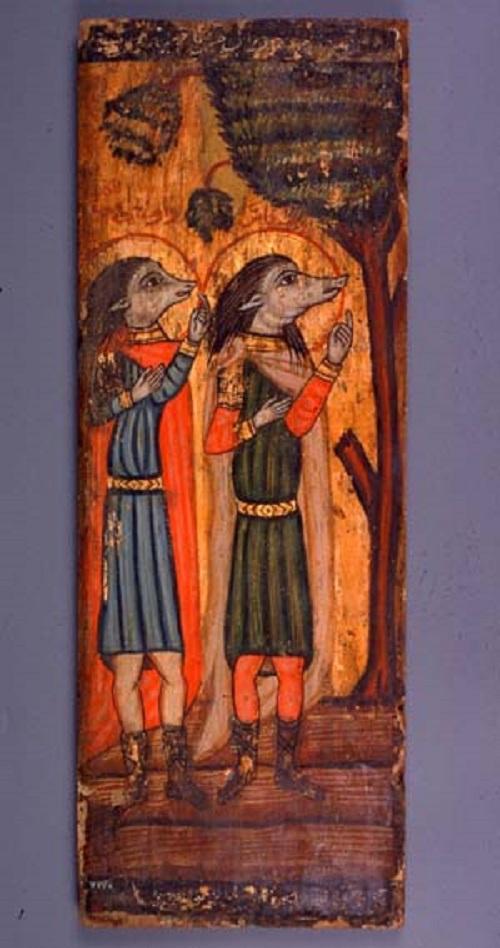 Saints Ahraks and Augani Cynocephaly (Coptic Museum Coptic icon of Art Museum in Cairo)