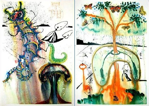 Signed by Salvador Dali's colorful illustration for Alice in Wonderland