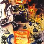 Signed by Salvador Dali's colorful illustration for Alice in Wonderland