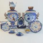 Gzhel style tea set with Samovar