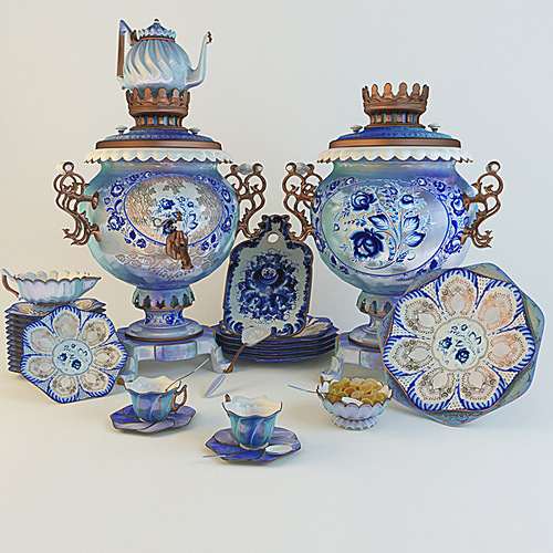 Gzhel style tea set with Samovar