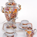 Porcelain tea set with samovar