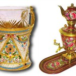 "Glassholder, known as ""podstakannik"" (left)"" and set of painted Samovar and teapot on tray"