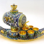 Barrel-shaped Samovar and tea cups on tray