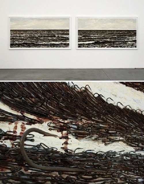 Seascape from fish hooks made by Havana based artist Yoan Capote
