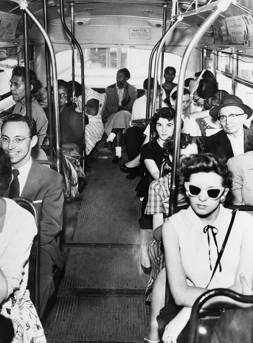 Segregated Bus in Texas. History in photography Black and white, literally