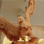 Eagle Life-size wooden sculpture by Sergey Bobkov