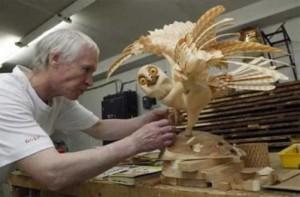 Work in progress. Life-size wooden sculpture of owl by Sergey Bobkov