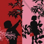 A girl with mirror. Silhouette paper art by French artist by Catherine de Seabra