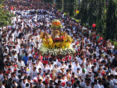 Thousands of people at the Sinulog festival in Cebu City, Philippines