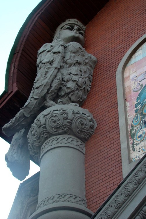 Former Russian Peasant Bank of 1906 (October street, 39), Poltava, Ukraine. Now the building belongs to security service. Built by engineer S. Nosov and architect AV Kobelev. Sirin sculpture