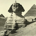 Sphinx and the pyramids of Chephren and Mankaura, Giza. Egypt in retro photographs of 1870