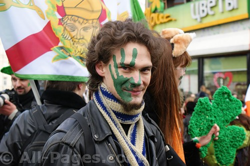 Parade during St. Patrick's celebration in Moscow, Russia