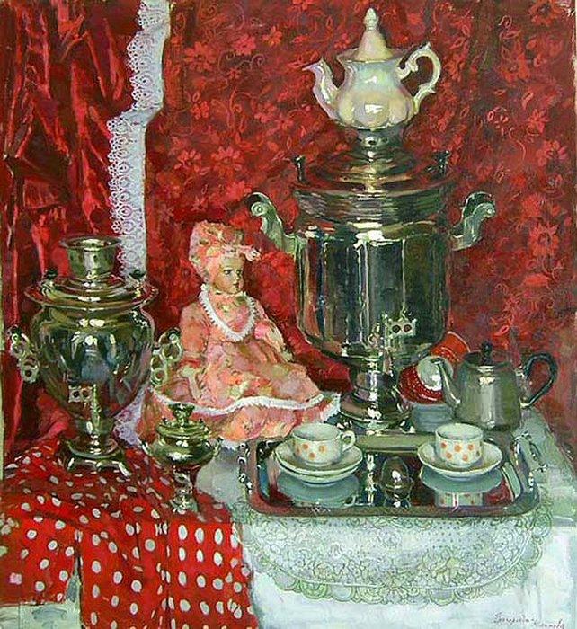Still life painting by Olga Greigorieva-Klimova (b. 1984). Samovar