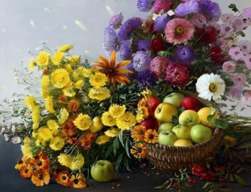 Still life with apples. Painting by Marina Zakharova, Kostroma, Russia