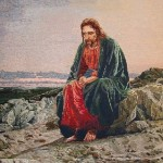 Christ in the Desert, painting by Russian artist Ivan Kramskoi. Stitch Embroidery by Russian craftswoman Galina Porokhnya