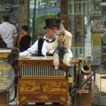 19 Sep 2009, Frankfurt, Germany. Organ grinder in the streets of Frankfurt