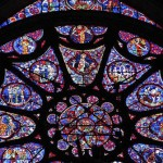 Unique stained glass windows in The Cathedral of Reims