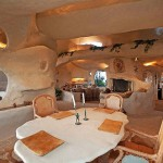 A dining room in the Flintstones style house