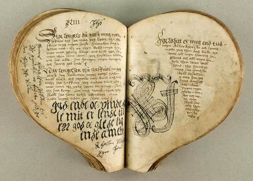 Denmark 1550's. The Heart Book is regarded as the oldest Danish ballad manuscript