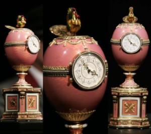 The Rothschild egg - jewelled, enameled decorated egg made under the supervision of the Russian jeweller Peter Carl Faberge in 1902 by the workshop of Michael Perchin
