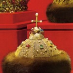 The Russian treasure. The famous hat of Monomakh, along with other precious stones, adorned with a number of fairly large pearls