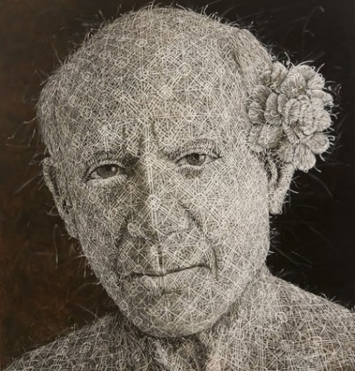 Pablo Picasso. The Woven fabric Painting by Cuban artist Alexi Torres