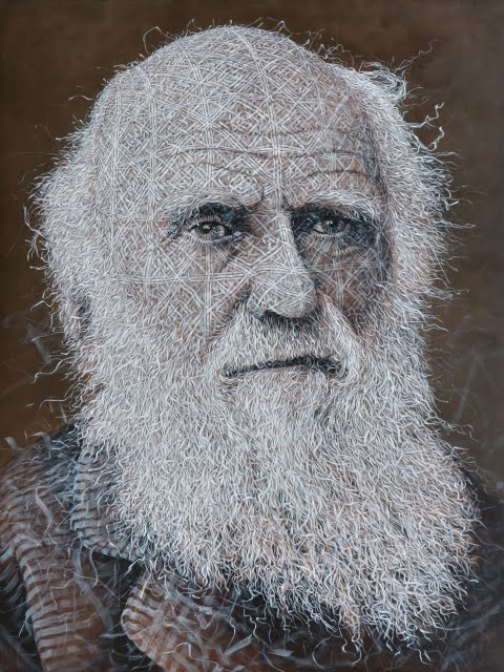 Charles Darwin. The Woven fabric Painting by Cuban artist Alexi Torres