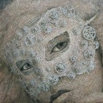 Masked Lady. The Woven fabric Portrait by Cuban artist Alexi Torres