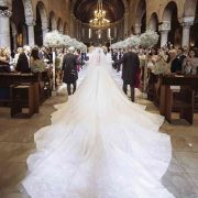Victoria Swarovski in a wedding dress by designer Michael Sinko from Dubai